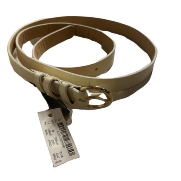 NWT J. Crew white cream reptile design skinny belt